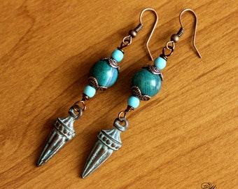 Boho Earrings, Patina Earrings, Ethnic Earrings, Blue Green Earrings, Tribal Earrings, Nepal Earrings, Boho Charm, Tibetian Earrings, Boho