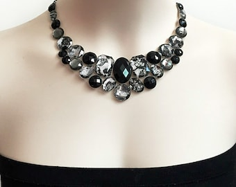 lacey and jet black bib rhinestone necklace, tulle bib necklace