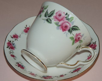 Queen Ann Pink Rose Bone China Cup and Saucer made in England