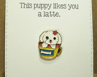 Puppy Latte - Enamel Pin with handmade Punny card & envelope - Lapel Pin - Hard Enamel Pin - Kawii -Trending - Backpack Pin - Animal