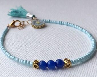 holiday bracelet, friendship bracelet, romantic bracelet, seed bead bracelet, pale blue bracelet, lapis lazuli bracelet