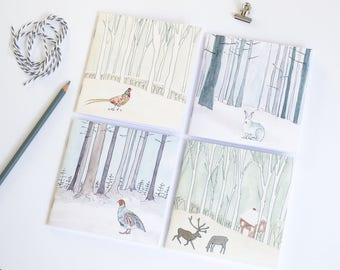 Set of 4 countryside notebooks, square notebooks, blank notebooks, notebook charm, cute notebooks, animal notebooks, pocket notebooks