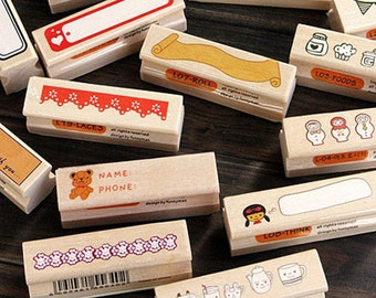 Stamp, Wooden Rubber Stamp, Cute Rubber Stamp, Animal Stamp, Rubber Stamp, Kawai Stamp, Wooden Stamp, Flowers Stamp