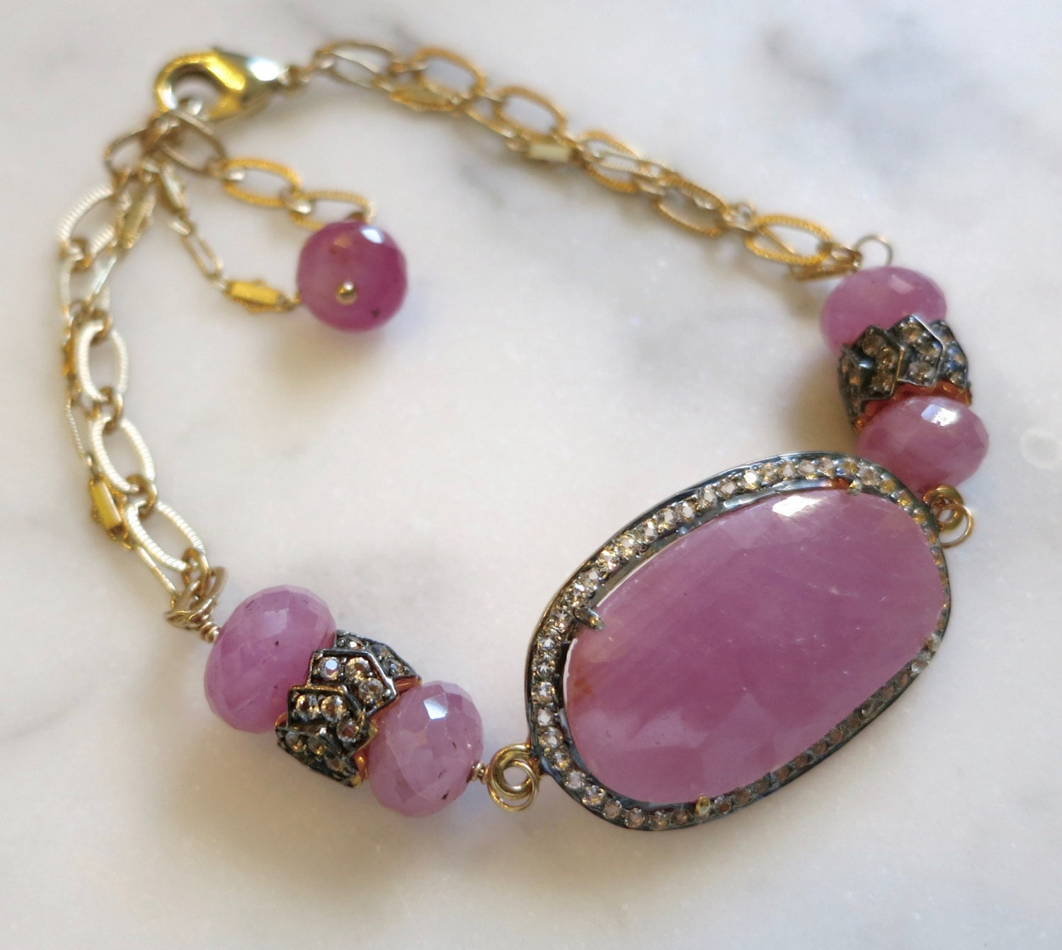 design emma gold the precious filled sapphire bracelet in wire gemstone wrapped pink