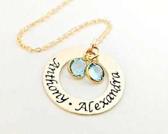 Personalized Gold Name Washer Necklace - Custom 14K Gold Filled Jewelry Swarovski Birthstones - Mother Nana Grandma Multiple Child Name Gift