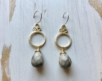 Gray Agate Gemstone Wire Wrapped Handmade Earrings