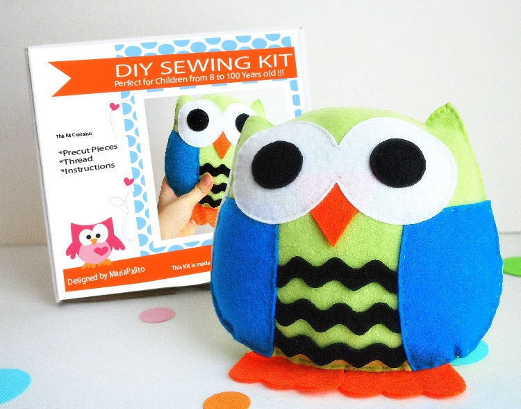 Owl Pillow Sewing Kit Felt Kids Crafts Felt Sewing Kit
