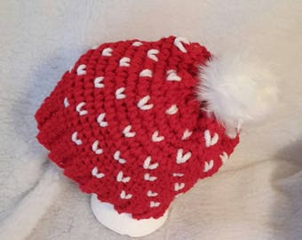 Chunky Red Beanie with hearts and pom pom