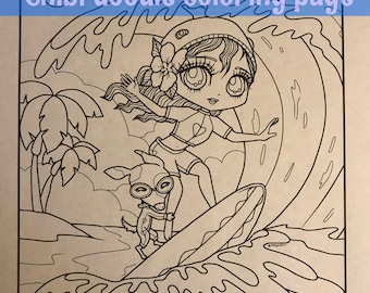 Chibi Surfer Girl and Dog friend Doodle Anime Manga Coloring Page for Adult Coloring PDF download by JennyLuanArt