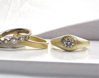READY TO SHIP French Wedding 14kt light yellow gold gypsy set engagement solitaire moissanite and recycled gold low profile engagement ring