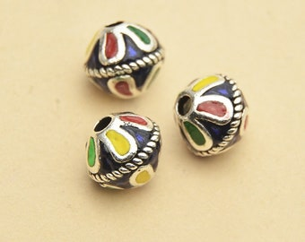 10mm 925 Sterling Silver Glaze Color Petal  Ethnic Beads / Findings / Spacer,Jewelry making findings,Colorful Beads