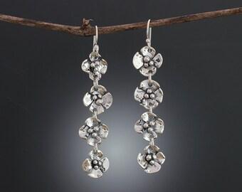Long Sterling Silver Dogwood Flower Earrings - Long Silver Earrings - Floral Jewelry - Dogwood Earrings - Multiple Flowers - Sherry Tinsman