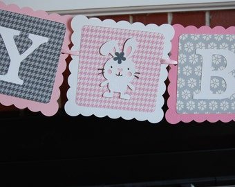Bunny Happy Birthday Banner, Baby Bunny, Rabbit, Bunny Rabbit Theme, Pink, Grey