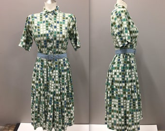 Vintage Dress with Square Print, Vintage House Dress - Small Vintage 1950s Fit and Flare - Mod HouseDress