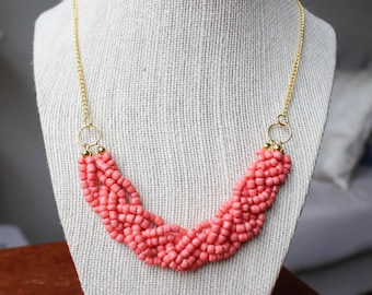 Coral Statement Necklace with Gold Chain, Coral Braided Bead Necklace, Coral Multistrand Necklace, Gold Chain