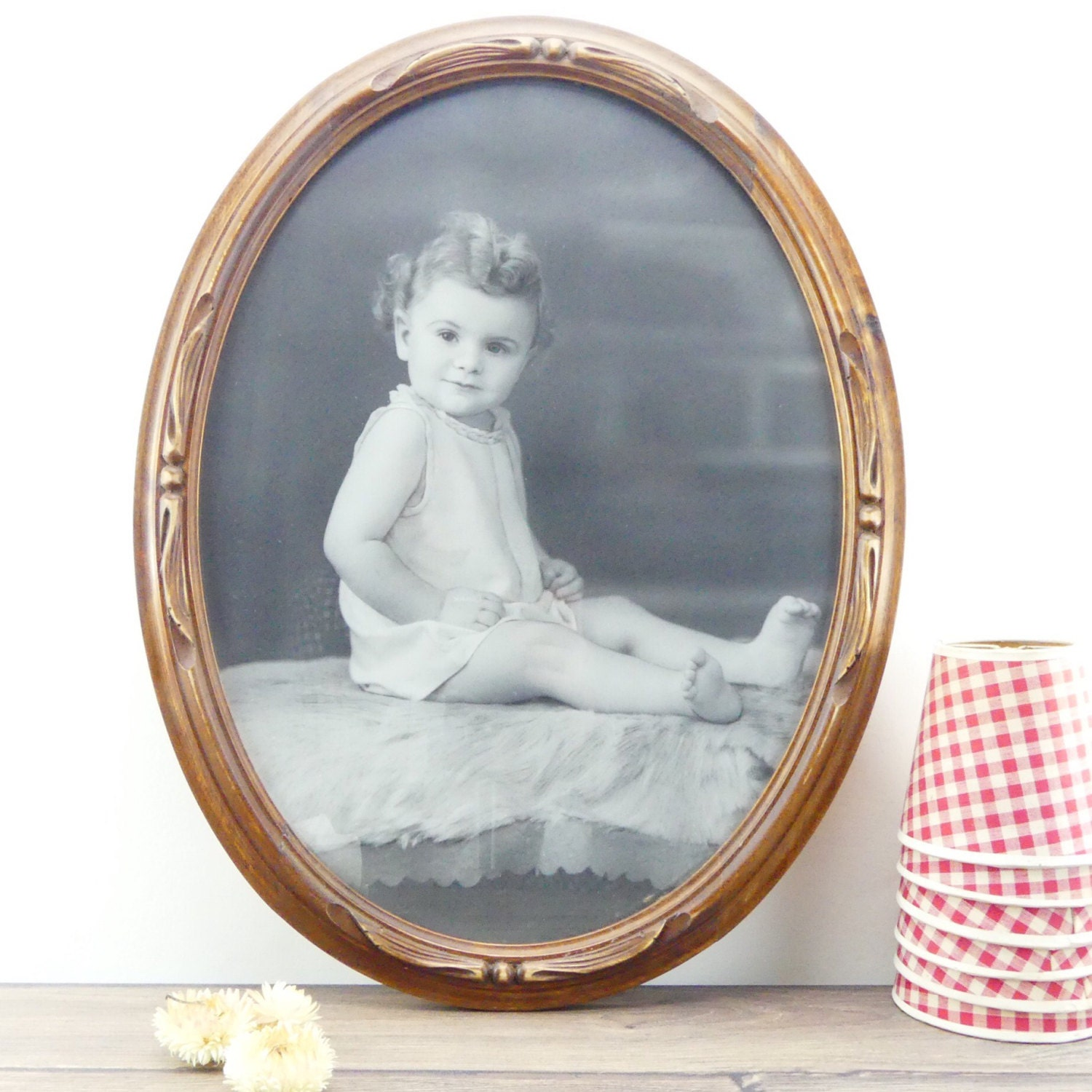 Antique wooden frame oval frame old baby photo old black and antique wooden frame oval frame old baby photo old black and white photo antique photo round frame wood jeuxipadfo Gallery