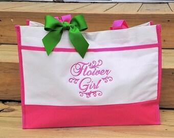 Flower Girl Tote Bag Personalized Flower Girl Bag Girls Tote Bag Bridesmaid Bags Monogrammed Gift Wedding Tote Bag