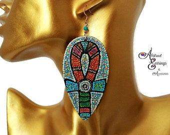 Tribal Ethnic Boho Inspired Egyptian Ankh Wood Tear Drop Earrings, Hand Painted Afrocentric Kemetic Natural Hair Earrings