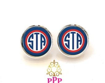Red White and blue Monogram Earrings, Monogram Stud Earrings, Monogram Jewelry (411)