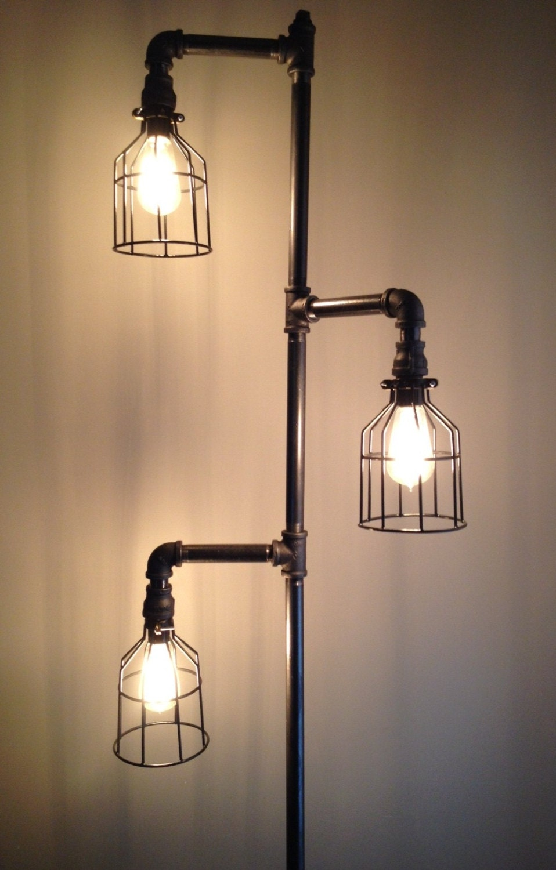 🔎zoom. industrial plumbing pipe floor lamp