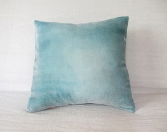 """Pale gray velvet cushion cover hand painted UK, 18"""" (45cm) sq ombre pillow cover, Ready to ship, other sizes available to order, UK"""
