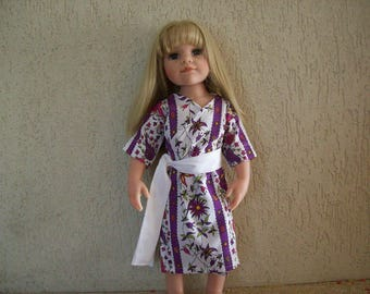 dressing gown, robe, kimono for dolls, gotz hannah, 50 cm (cotton printed with flowers)