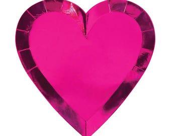 Meri Meri Valentines pink heart plates set of 8