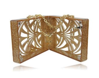 Geometric Glitter Champagne Acrylic Box Clutch