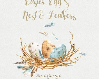 Easter Eggs Clipart, Feathers, Nest. Hand painted watercolour elements, transparent, digital png, printabl