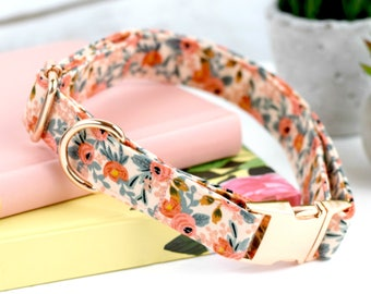 Dog Collar - Les Fleurs Rosa - Peach Floral Print - Fabric Dog Collar - Cotton + Steel Rifle Paper Company - Rose Gold Metal Hardware