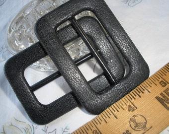 "Basic Black buckle Textured Scarf Slide 2"" opening plastic 2"" x 2 13/16"" crafts ribbon slide sewing belt 2 buckles"