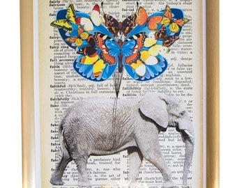 Steampunk Elephant With Butterflies Upcycled Vintage Dictionary Art Print Original Design Print on a Dictionary 11x16 inches