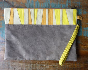 Chic ethnic clutch with removable wrist strap / / suede and cotton / / Brown, cream, mango and yellow / / trendy, modern / / gift for her