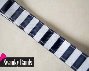 Navy Nautical Stripe- Navy and White Non-Slip Headband Hair Accessory, Hair Styling, Nautical, Non slip headbands, Headbands,Swanky Bands