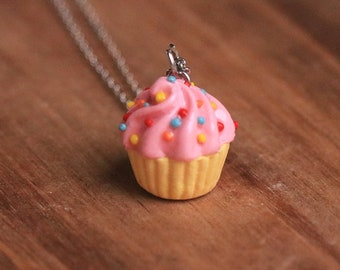 Pink Cupcake Necklace - Food Jewelry, Kawaii Necklace, Food Necklace