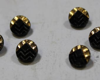 Diminutive Black Glass Buttons 10 Vintage Dimi Black and Gold Trim Glass Buttons