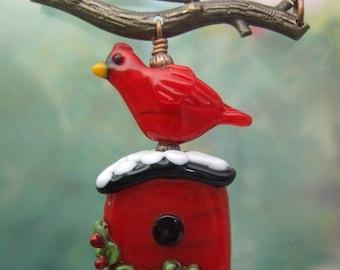 Cardinal Christmas Birdhouse Pendant, Torchwork Jewelry Handcrafted in North Carolina