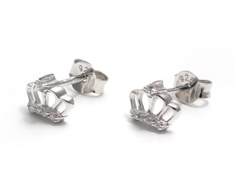 Zirkoniabesetzte Crown earrings 925 sterling silver