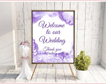 Welcome to our wedding sign - purple watercolour