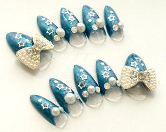 Stiletto nails, navy, holiday nails, stars, bow, Japanese 3D nails, pearl, blue nails, Japanese nail art, hime gyaru, bling, winter nail art