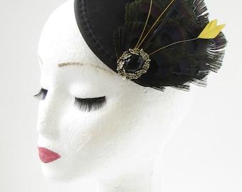 Black Gold Feather Fascinator Headpiece Hair Clip Races Vintage 1920s Hat 9AJ