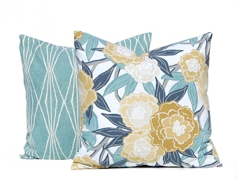 Euro Shams - Decorative Pillow Covers - Aqua Cushion Covers - Floral and Leaves in Gold and Aqua - Euro Pillow Shams - Teal Pillows