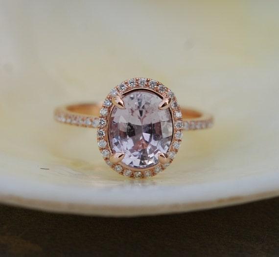 Slate Grey Engagement Ring 14k Rose Gold Diamond Engagement Ring 2.54ct oval gray sapphire ring. Gray Engagement ring by Eidelprecious