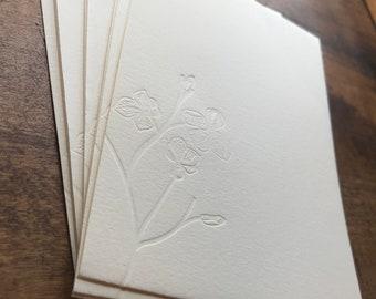 Embossed Letterpress Floral Stationery - Pack of 8