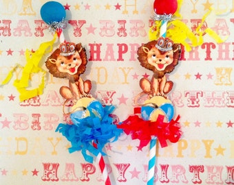 Two Circus Lion Cake Pokers/Party Decorations