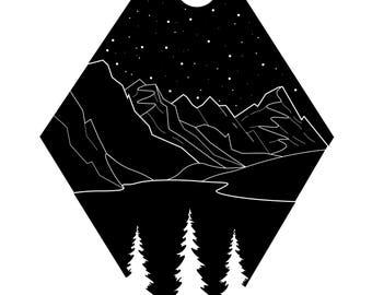 mountain landscape |  handmade print | home decor | minimal art | digital art