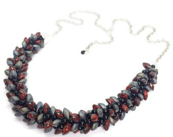 Red speckle, grey and black statement kumihimo hand-braided glass beaded necklace