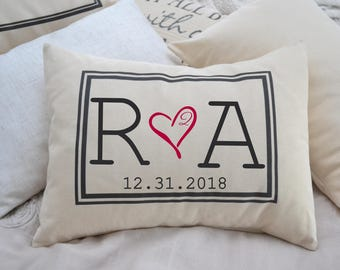 Valentine gift, personalized Couples, 2nd anniversary gift, romantic 2 year gift, monogram, Cotton anniversary, gift for her, gift for him2