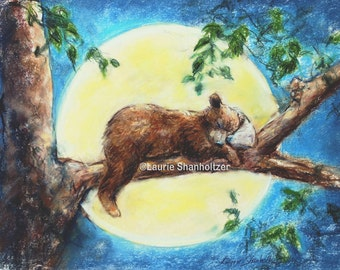 "Baby Animal  decor, nursery, Flat archival canvas print, children wall art, ""Sleep Tight Baby Bear"" Laurie Shanholtzer, Choose size"