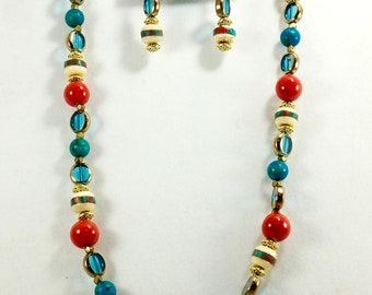 Monk Beads with Red and Teal Beaded Necklace, Women's Accessories, Fashion Jewelry, Handmade, One of a Kind, Gifts for Her, Chic Necklace